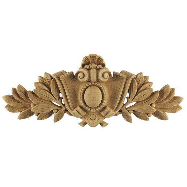 "24""(W) x 9-1/4""(H) x 7/8""(Relief) - Shield - Louis XVI Cartouche Accent - [Compo Material] - Brockwell Incorporated"