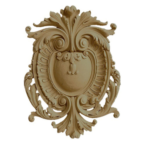 "9-1/2""(W) x 12-3/4""(H) x 1/2""(Relief) - French Shield Cartouche Accent - [Compo Material] - Brockwell Incorporated"