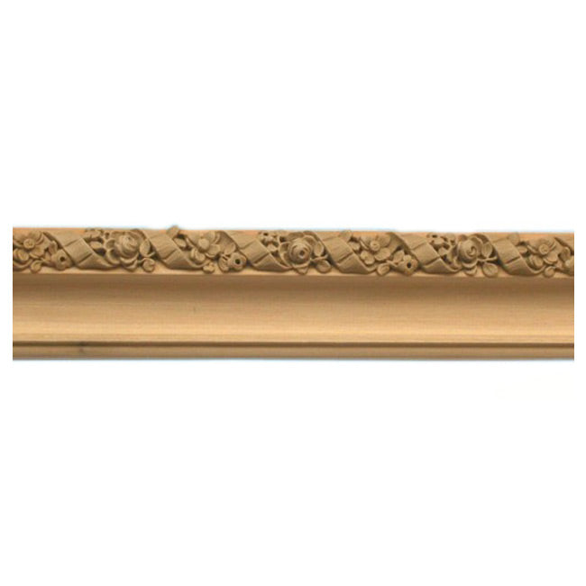 "Buy 2""(H) x 1""(Proj.) - Floral Ribbon Onlay Panel Molding Design (Poplar) - [Wood Material] - Brockwell Incorporated"