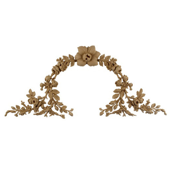 "Resin Furniture Appliques - 14-1/2""(W) x 6-3/4""(H) - Floral Wreath Applique - [Compo Material]"