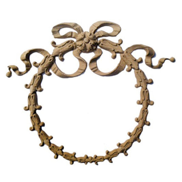 "Resin Furniture Appliques - 5-1/4""(W) x 4-1/2""(H) x 3/8""(Relief) - Empire Wreath Accent - [Compo Material]"