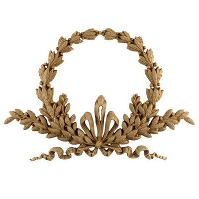"Resin Furniture Appliques - 10-1/2""(W) x 7-1/4""(H) x 1/2""(Relief) - Louis XVI Wreath Applique - [Compo Material]"
