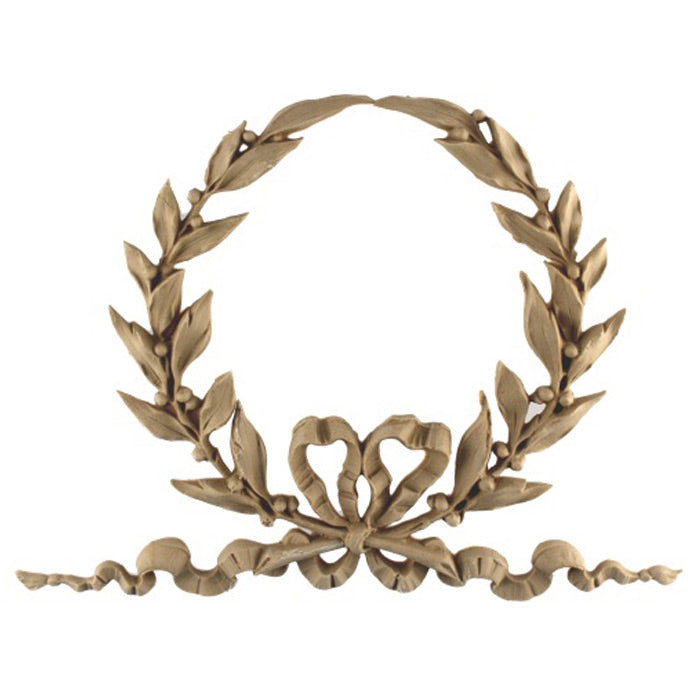 "Resin Furniture Appliques - 11-1/2""(W) x 8-1/4""(H) x 9/16""(Relief) - Louis XVI Wreath Applique - [Compo Material]"