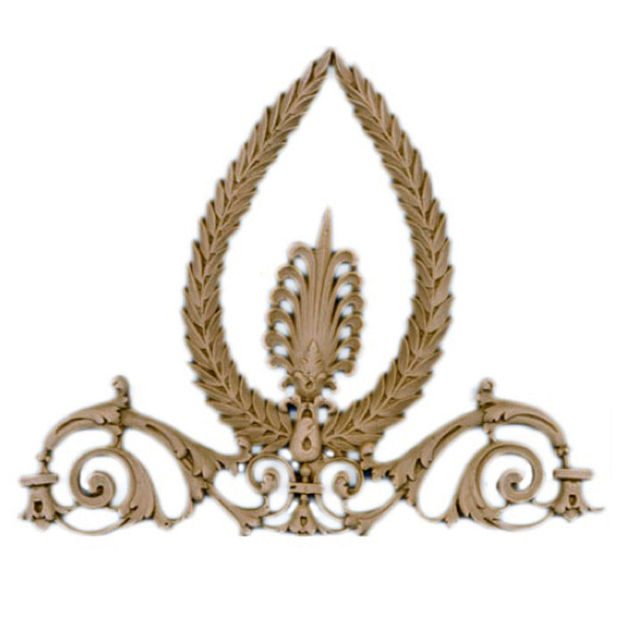 "Resin Furniture Appliques - 10""(W) x 8""(H) x 1/4""(Relief) - Empire Style Wreath Applique - [Compo Material]"