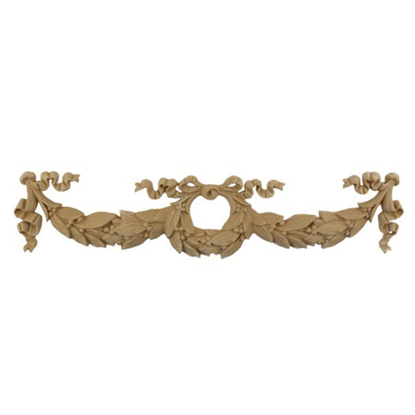 "Resin Furniture Appliques - 16""(W) x 3-7/8""(H) - Wreath & Swags Applique - [Compo Material]"