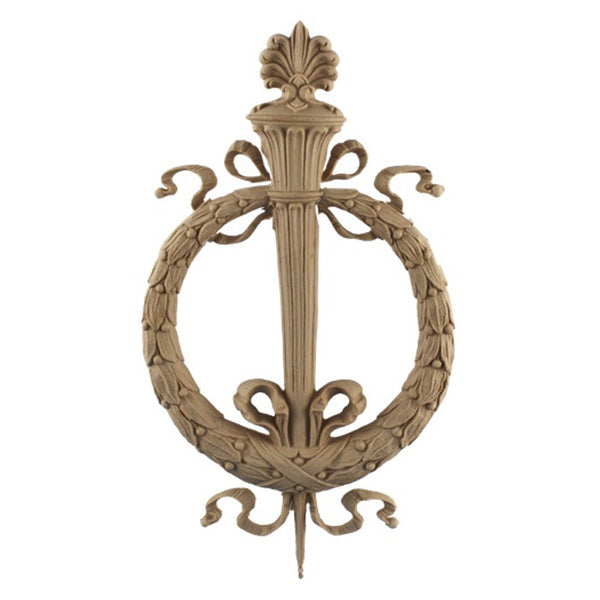 "Resin Furniture Appliques - 7-1/4""(W) x 13""(H) x 5/8""(Relief) - Wreath w/ Torch Applique - [Compo Material]"