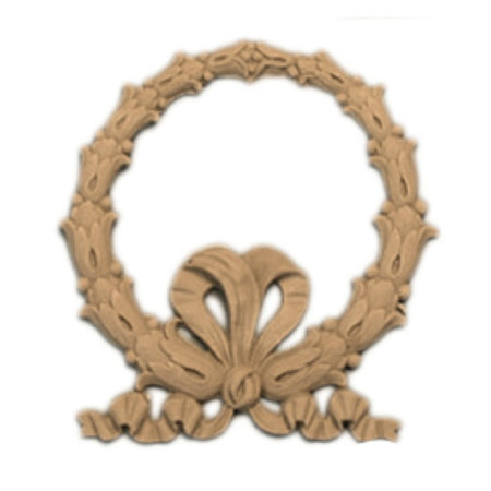 small classic composition wreath applique for wood cabinetry