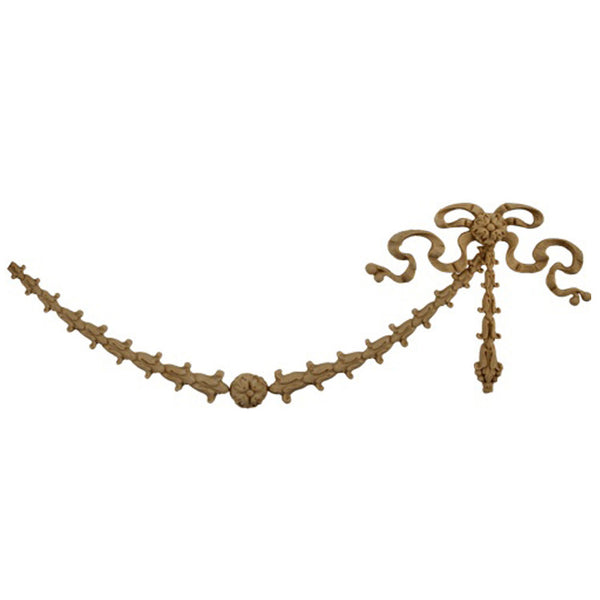 "Interior Stain-Grade 9-3/4""(W) x 3-3/4""(H) x 3/8""(Relief) - Empire Festoon Applique - [Compo Material] - Decorative Ornament"