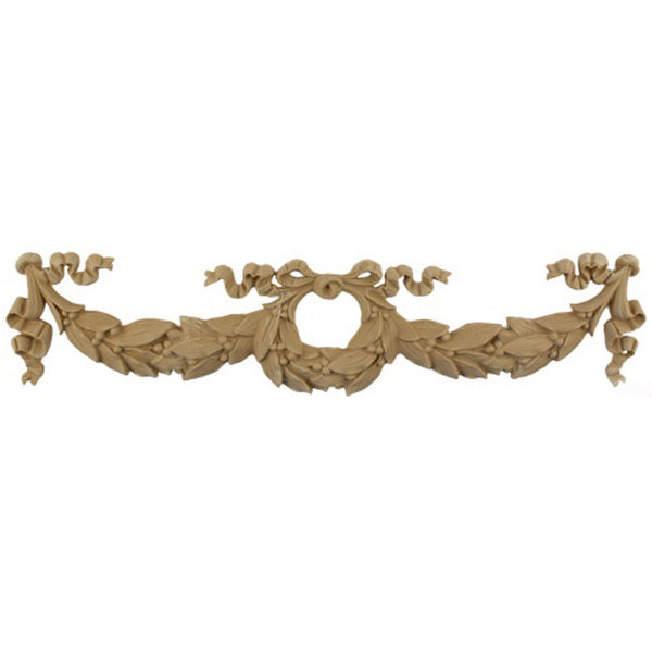 "Interior Stain-Grade 16""(W) x 3-7/8""(H) - Center Wreath Floral Swag Design - [Compo Material] - Decorative Ornament"