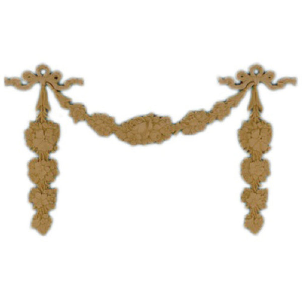 "Interior Stain-Grade 7-7/8""(W) - Floral Scroll Festoon Design - [Compo Material] - Decorative Ornament"
