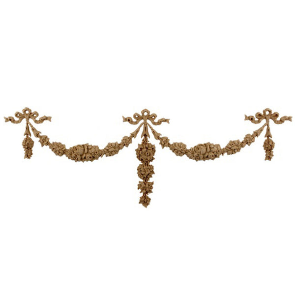 "Interior Stain-Grade 9-1/4""(W) x 3-7/8""(H) - Floral Scroll Festoon / Swag Design - [Compo Material] - Decorative Ornament"