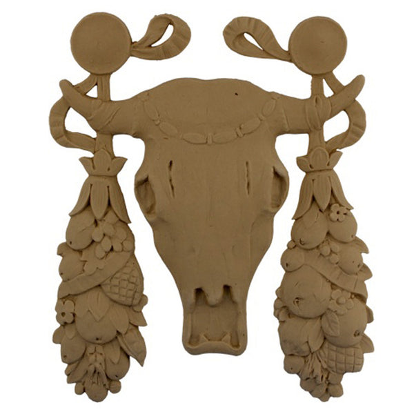 "Interior Stain-Grade 8-1/4""(W) x 10-1/2""(H) x 3/8""(Relief) - Swag - Steer Skull Applique - [Compo Material] - Decorative Ornament"