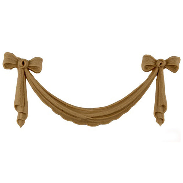 "Interior Stain-Grade 7-1/8""(W) x 2-1/8""(H) - Classic Bow & Swag Accent for Woodwork - [Compo Material] - Decorative Ornament"