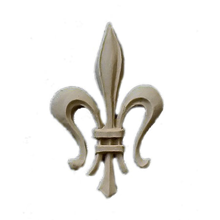 "Resin Accent - 1-1/4""(W) x 2-1/8""(H) x 1/8""(Relief) - Gothic Fleur de Lis - [Compo Material] - Brockwell Incorporated"