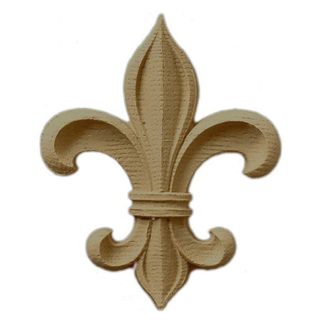 "Resin Accent - 1-7/8""(W) x 2-1/4""(H) x 1/4""(Relief) - Classic Style Fleur de Lis - [Compo Material] - Brockwell Incorporated"