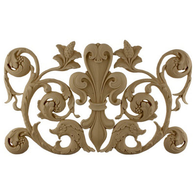 Apply Brockwell's fleur de lis resin accent to wood furniture