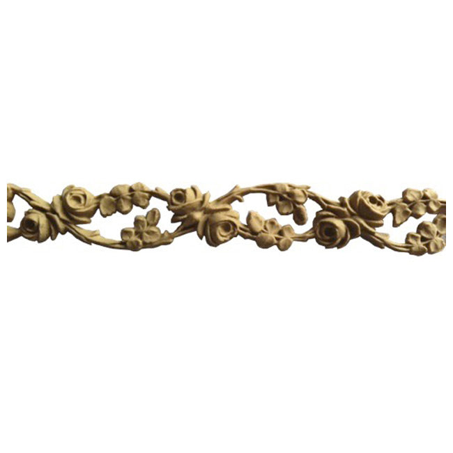 "7/8""(H) x 1/4""(Relief) - Stainable Linear Moulding - Running Vine & Rose Design - [Compo Material]-Brockwell Incorporated"