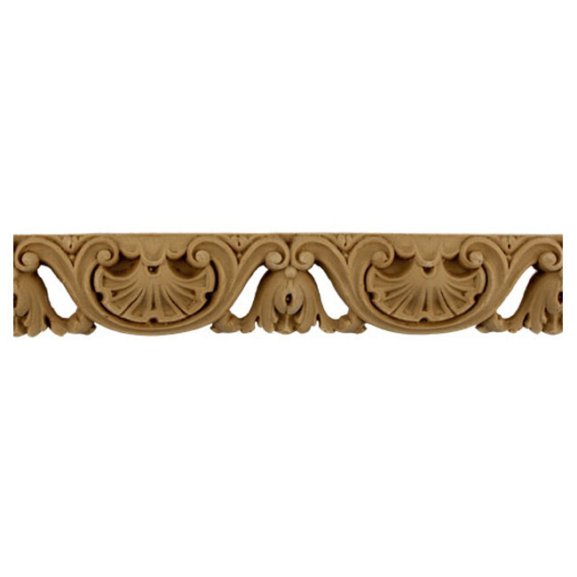 "1-1/2""(H) - Stainable Linear Molding - Shell & Bell Flower Design - [Compo Material]-Brockwell Incorporated"