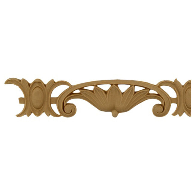 "1-1/2""(H) x 3/16""(Relief) - Stainable Linear Molding - Shield & Flower Design - [Compo Material]-Brockwell Incorporated"