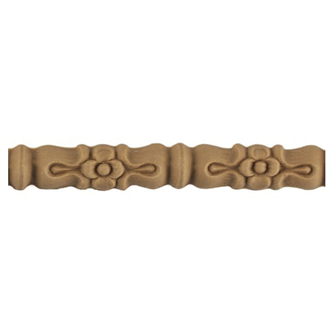 "9/16""(H) x 1/4""(Relief) - Linear Molding - Louis XVI Flower & Bead Design - [Compo Material]-Brockwell Incorporated"