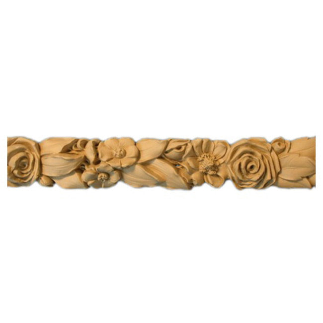 "2-1/8""(H) x 1""(Relief) - Linear Molding - Louis XVI Rose Floral Design - [Compo Material]-Brockwell Incorporated"