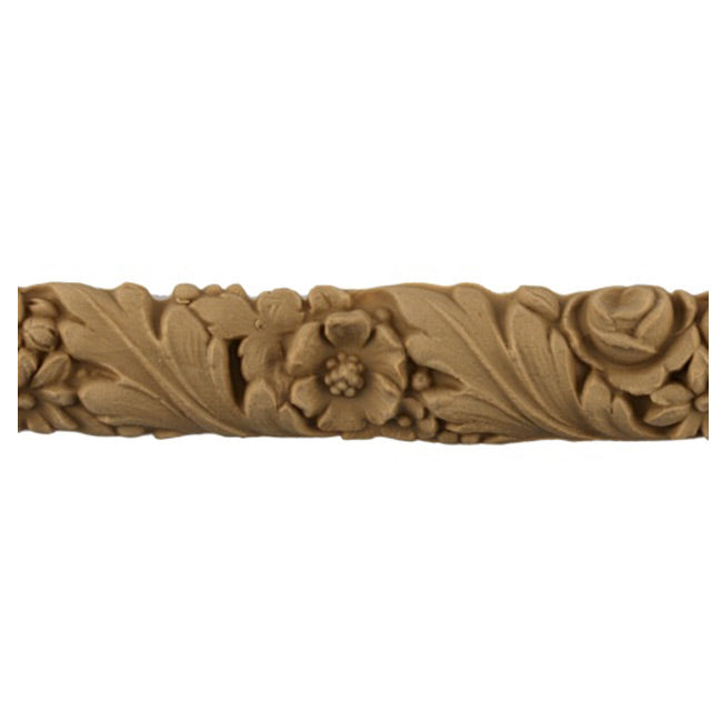 "1""(H) x 3/8""(Relief) - Linear Molding - Louis XVI Leaf & Flower Design - [Compo Material]-Brockwell Incorporated"