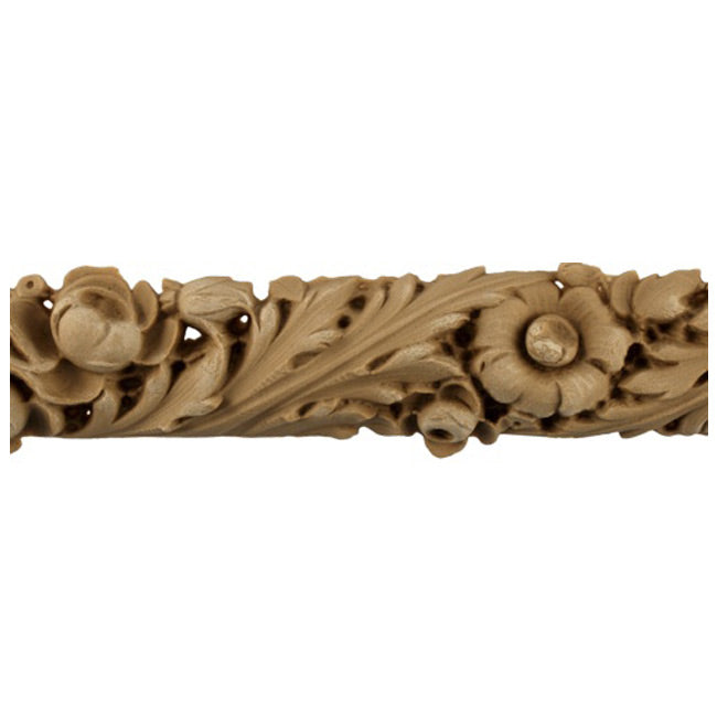 "1-3/4""(H) x 3/4""(Relief) - Linear Molding - Louis XVI Floral Design - [Compo Material]-Brockwell Incorporated"