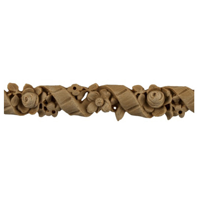 "3/4""(H) x 1/4""(Relief) - Linear Molding - Louis XVI Floral Design - [Compo Material]-Brockwell Incorporated"