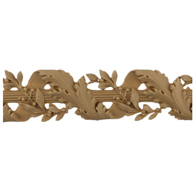 "2-1/8""(H) x 1/4""(Relief) - Linear Molding - Louis XVI Vine & Ribbon Floral Rope Design - [Compo Material]-Brockwell Incorporated"