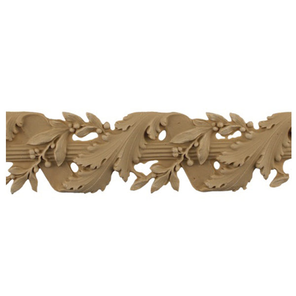 "2-1/8""(H) x 1/4""(Relief) - Linear Moulding - Louis XVI Vine & Ribbon Floral Rope Design - [Compo Material]-Brockwell Incorporated"