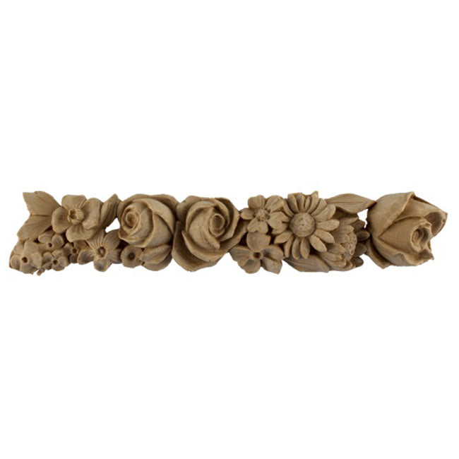 "2""(H) x 1-1/8""(Relief) - Repeat: 12-1/4"" - Rose Floral Linear Molding Design - [Compo Material]-Brockwell Incorporated"