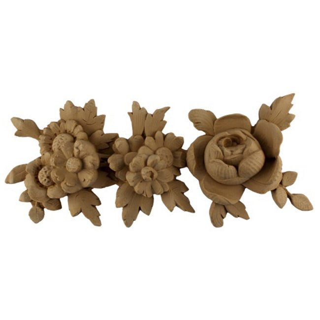 "5""(H) x 1-1/2""(Relief) - French Rose Floral Linear Molding Design - [Compo Material]-Brockwell Incorporated"