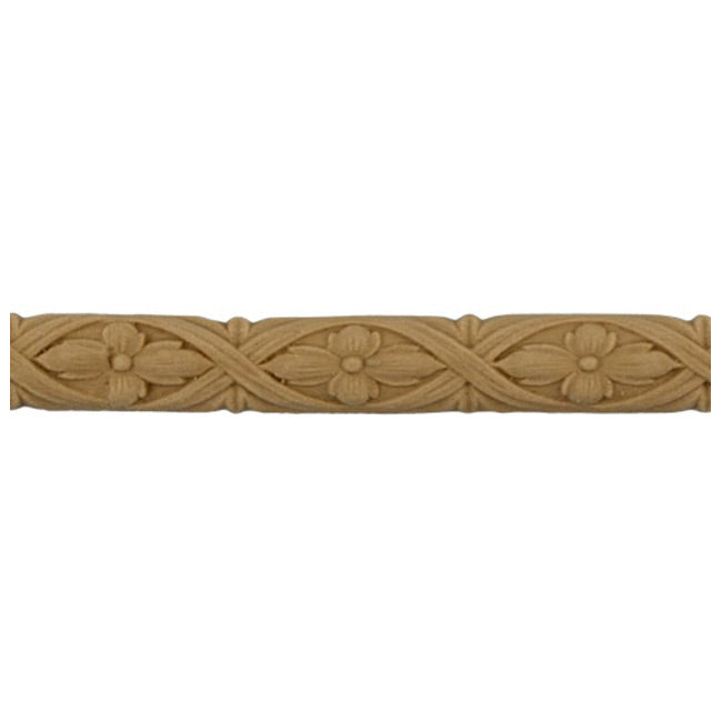 "5/8""(H) x 1/4""(Relief) - Interior Linear Moulding - Flower & Ribbon Design - [Compo Material]-Brockwell Incorporated"