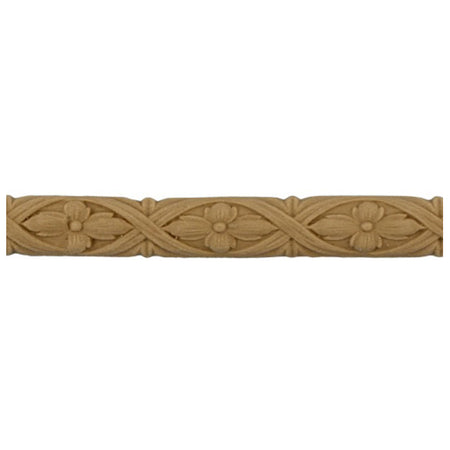 "1/4""(H) x 3/16""(Relief) - Interior Linear Moulding - Flower & Ribbon Design - [Compo Material]-Brockwell Incorporated"