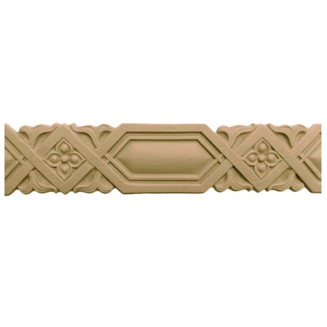 "1-1/16""(H) x 1/8""(Relief) - Stainable Linear Molding - Moorish Style Geometric Design - [Compo Material] - Brockwell Incorporated"