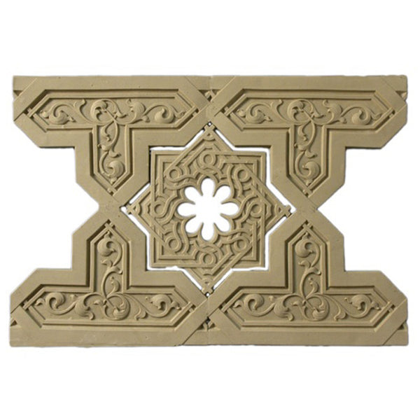 "9-5/8""(H) x 3/16""(Relief) - Linear Moulding - Moorish Geometric Design - [Compo Material] - Brockwell Incorporated"