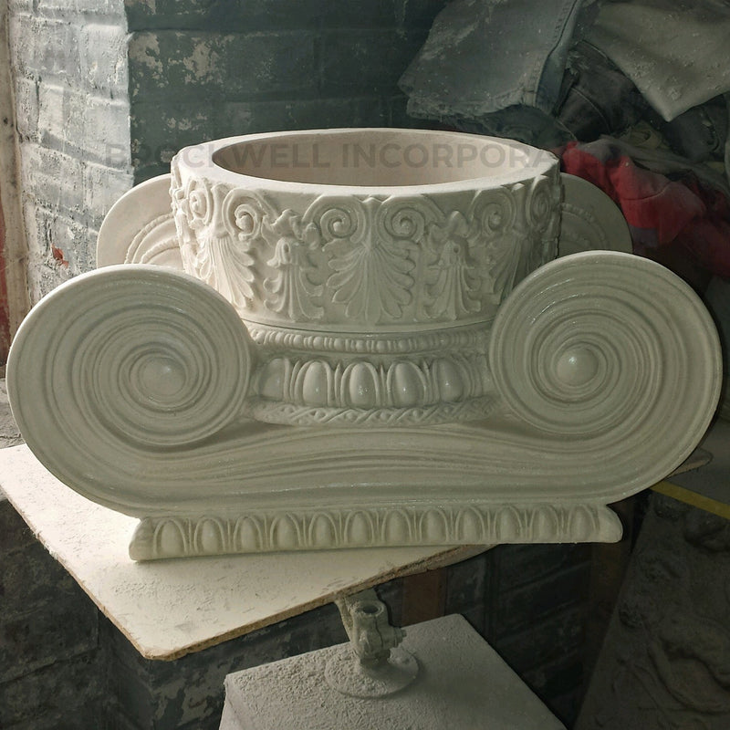 Ionic Order (Greek) - Erechtheum w/ Necking - ROUND Column Capital - [Plaster Material] - Brockwell Incorporated