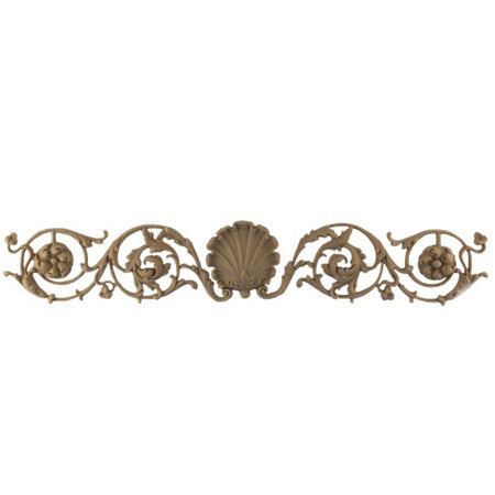 "Shop Beautiful 18-1/4""(W) x 3""(H) x 7/16""(Relief) - French Shell w/ Vines Horizontal Design - [Compo Material]-HRZ-3567-CP-2"
