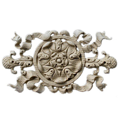 "Shop Beautiful 5-3/4""(W) x 3-1/8""(H) x 3/8""(Relief) - Rosette w/ Ribbon Horizontal Design - [Compo Material]-HRZ-2867-CP-2"