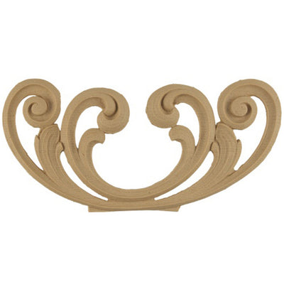 "Shop Beautiful 9""(W) x 4""(H) - Floral Scroll Stain-Grade Decorative Horizontal Design - [Compo Material]-HRZ-F6763-CP-2"