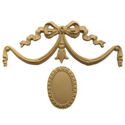 "Shop Beautiful 5""(W) x 3-1/2""(H) - Swag w/ Ribbon & Rosette Decorative Horizontal Design - [Compo Material]-HRZ-F948-CP-2"