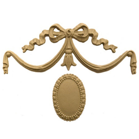 "Shop Beautiful 6""(W) x 4""(H) - Swag w/ Ribbon & Rosette Decorative Horizontal Design - [Compo Material]-HRZ-F058-CP-2"