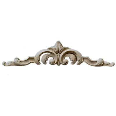 "Shop Beautiful 5-3/8""(W) x 1-1/4""(H) - Stain-Grade Floral Cartouche Horizontal Design - [Compo Material]-HRZ-F1775-CP-2"