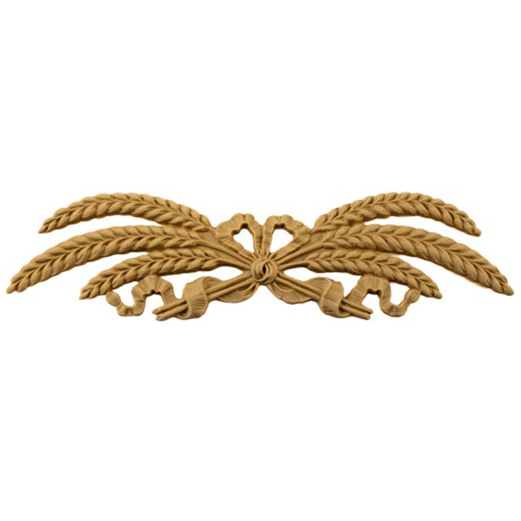 "Shop Beautiful 8-1/4""(W) x 2-1/4""(H) - Wheat & Ribbon Decorative Horizontal Design - [Compo Material]-HRZ-F2721-CP-2"