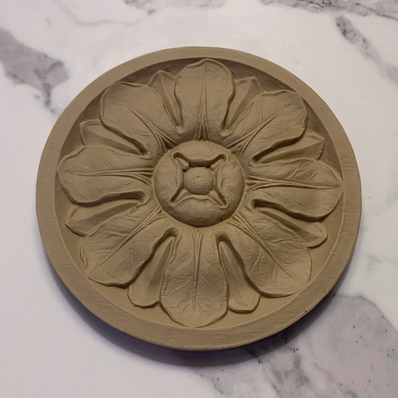 "4-5/8""(Diam) - Round Flower Rosette for Woodwork - [Compo Material]"