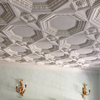 "48"" Square (Width) x 1-3/4""(Relief) - Italian Coffered w/ Ornamented Tail Panel - [Plaster Material]-CEILINGS-Brockwell Incorporated"