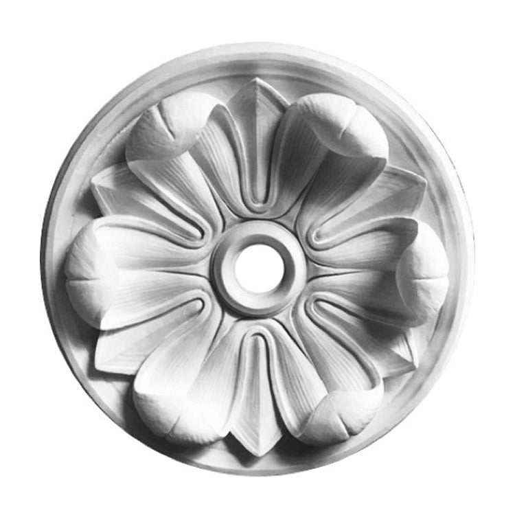"36"" (Diam.) x 6-1/2"" (Relief) - Hole: 4"" - Flower Round Ceiling Medallion - [Plaster Material] - Brockwell Incorporated"