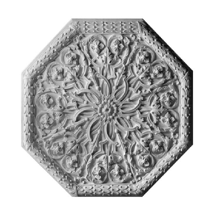 "36"" (Diam.) x 1-5/8"" (Relief) - German (Octagon) Ceiling Medallion - [Plaster Material] - Brockwell Incorporated"