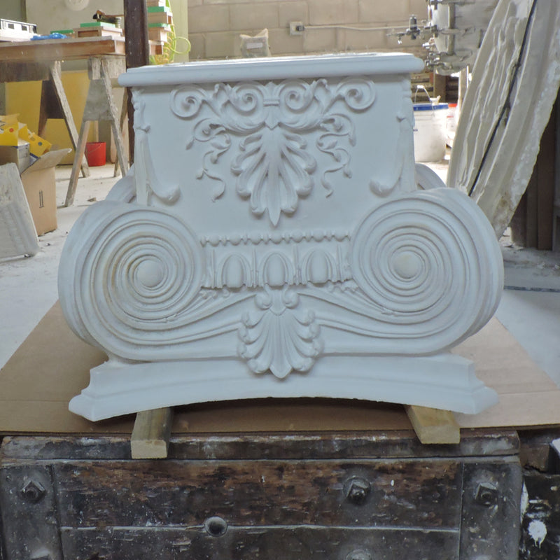 Ionic Order (Roman) - Modern Empire w/ Necking - PILASTER CAP - [Plaster Material] - Brockwell Incorporated