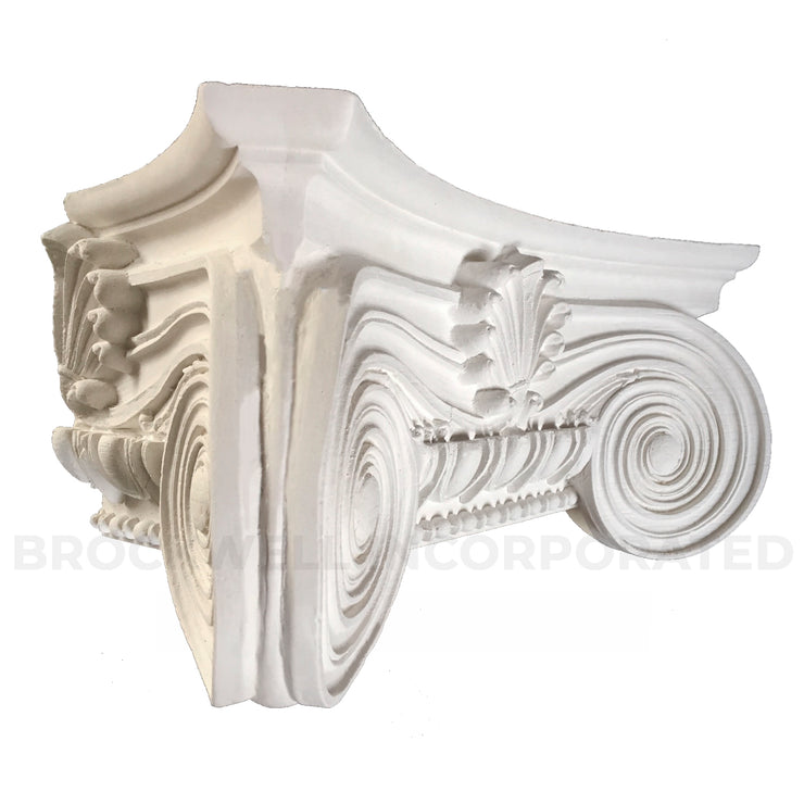 Angled view of Brockwell Incorporated's Empire (Ionic) plaster pilaster capital